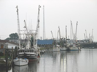 Chincoteague, Virginia - Fishing boats along the waterfront in Chincoteague
