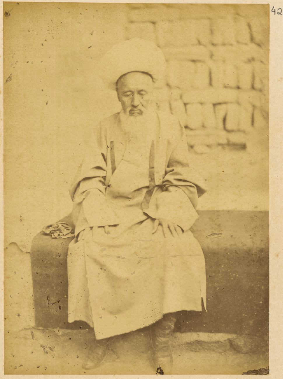 Chinese Mosque Official Wearing a Spherical Hat with a Tassel. Hami, Xinjiang, China, 1875 WDL1934