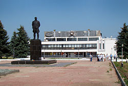 Monument to Valery Chkalov in front of the Palace of Culture and Sports