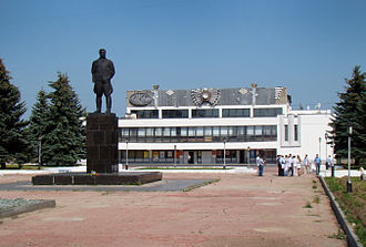 Chkalovsk, Russia - Monument to Valery Chkalov in front of the Palace of Culture and Sports