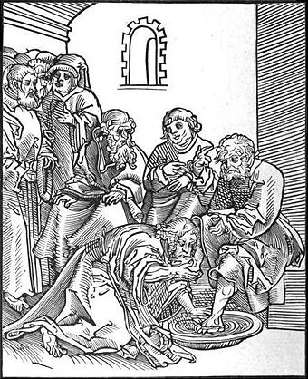 Christus, by Lucas Cranach. This woodcut of John 13:14-17 is from Passionary of the Christ and Antichrist. Cranach shows Jesus kissing Peter's foot during the footwashing. This stands in contrast to the opposing woodcut, where the pope demands others kiss his foot. ChristWashingFeet.JPG