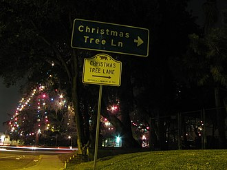 Christmas Tree Lane - One of the several signs indicating Christmas Tree Lane as a California State Landmark.