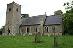 Church of St Peter, Little Ellingham. Note 13th century tower with porch at base.