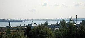 Chusovaya River - A railway bridge across Chusovaya near its confluence to the Kama Reservoir.