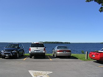 Cicero, New York - Oneida Lake taken from the Yacht Club in Cicero. Two small islands in the lake can be seen from this shoreline.