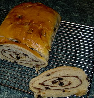 Cinnamon sugar - Raisin bread with cinnamon sugar swirled in the dough.