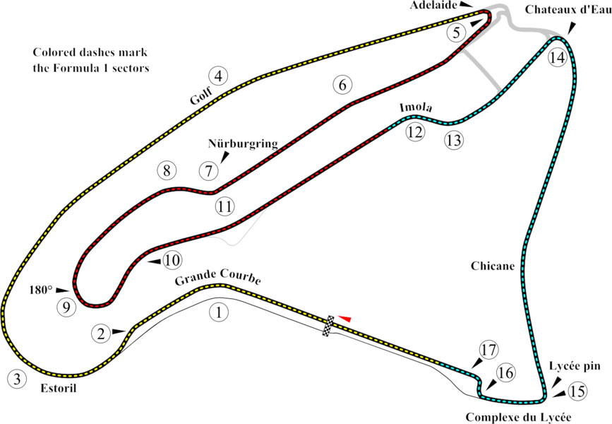 Track map of w:Circuit de Nevers Magny-Cours.  This PNG version of Image:Circuit de Nevers Magny-Cours.svg is for browsers like IE7 that don't support SVG.