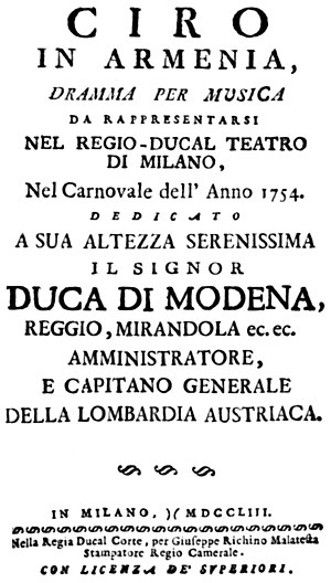 Ciro in Armenia - Title page of the libretto