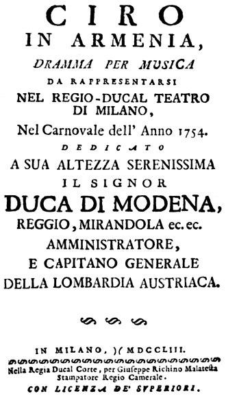 Ciro in Armenia - Title page of the libretto