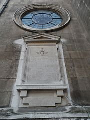 City of London Artillery war memorial on exterior of St Lawrence Jewry church