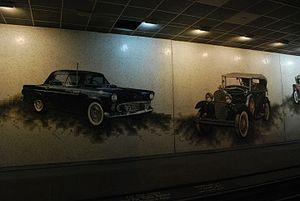 Cobo Center station - Mosaic of cars in the Cobo Center station