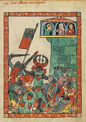 Albrecht II, Count of Hohenberg-Rotenburg - Codex Manesse: Count Albrecht II. in battle