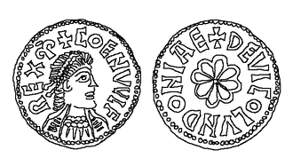 "Coenwulf of Mercia - Coenwulf's portrait from the ""Coenwulf mancus"", a gold coin discovered in Bedfordshire in 2001"