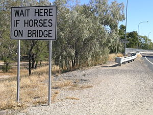 Collarenebri - Sign on Rocky Ford Bridge over the Barwon River, Collarenebri, NSW