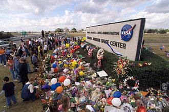 Johnson Space Center - Entrance to JSC on February 1, 2003, with a makeshift memorial to the victims of the Space Shuttle Columbia disaster