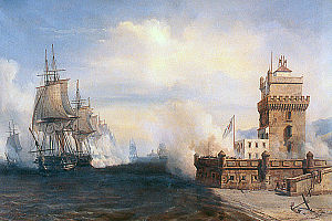 Belém Tower - French ships exchanging fire with the tower at the Battle of the Tagus during the Liberal Wars (1831)