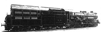 Steam turbine locomotive - Henschel T38-2555, with the steam turbine tender
