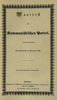 <i>The Communist Manifesto</i> 1848 publication written by Karl Marx and Friedrich Engels