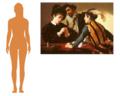 Comparaison indicative de tailles entre une femme moyenne (165 cm) et le tableau (94,2 × 130,9 cm).png