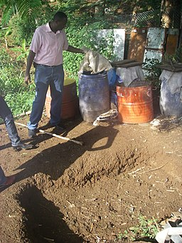 Pits are a popular composting method in hot and dry countries.