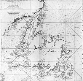 Carta geografica di Terranova di James Cook e Michael Lane, 1775.