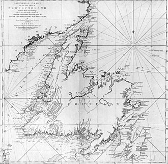History of Newfoundland and Labrador - James Cook in 1763-4 made a survey of Newfoundland's Northern Peninsula and in 1775 created this map