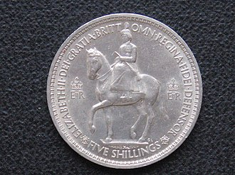 Crown (British coin) - Image: Coronation Crown 1953 obverse