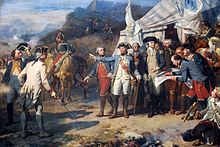 Generals Washington and Rochambeau, standing in fron of HQ tent, giving last orders before the attack on Yorktown