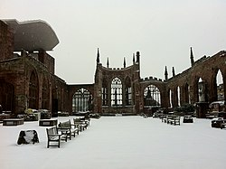 Coventry Cathedral ruins in the snow