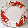 Crayfish plate, probably designed by Alf Wallander (1862-1914), Rorstrand, c. 1911, creamware - Nordiska museet - Stockholm, Sweden - DSC09814.JPG