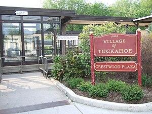 Crestwood (Metro-North station) - Tuckahoe Village/Crestwood Plaza sign along the Wassaic-bound platform.