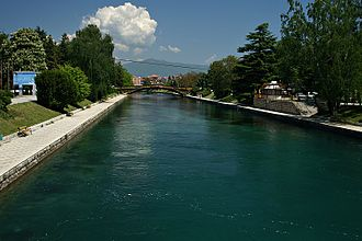 Struga - The Black Drin river flowing through the city.