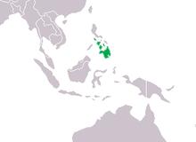 Rozšíření krokodýla filipínského (zeleně).