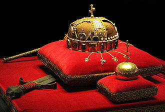 Holy Crown of Hungary - The Crown, Sword, Sceptre and Globus Cruciger of Hungary, in the Hungarian Parliament Building
