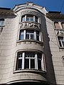 Cylindrical balcony. The central part of the facade. - 71, Váci Street, Budapest District V, Hungary.JPG
