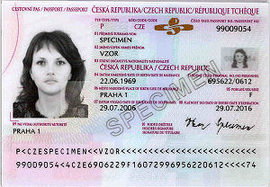 Czech nationality law - The information page of a Czech passport