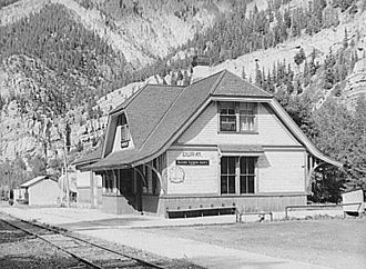 Ouray, Colorado - D&RGW Railroad station in Ouray, 1940