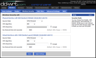 Wireless security - Security settings panel for a DD-WRT router