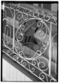 DETAIL SHOWING ORNAMENTAL IRON RAILING OF STAIRCASE - Parque de Bombas, Plaza Munoz Rivera, Ponce, Ponce Municipio, PR HABS PR,6-PONCE,4-6.tif