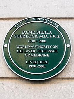 Photo of Sheila Sherlock green plaque
