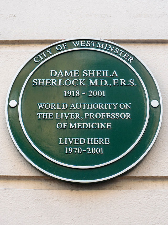 Sheila Sherlock green plaque - Dame Sheila Sherlock MD FRS 1918-2001 World authority on the liver, Professor of medicine lived here 1970-2001