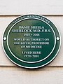 Dame Sheila Sherlock M.D. F.R.S. 1918-2001 World authority on the liver Professor of medicine lived here 1970-2001.jpg