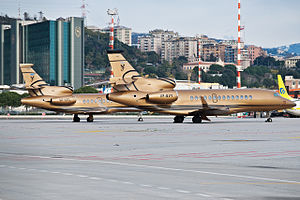Dassault Aviation - A Dassault Falcon 900 and a Dassault Falcon 7X business jet at Genoa Cristoforo Colombo Airport (2010)