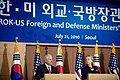 Defense.gov News Photo 100721-D-7203C-026 - Secretary of Defense Robert M. Gates left and Secretary of State Hillary Rodham Clinton address the media in Seoul, South Korea, on July 21, 2010.jpg