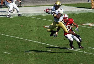 Demaryius Thomas - Demaryius Thomas catches a pass in a 2007 game against Maryland.