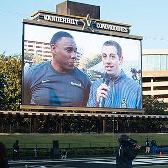 Derek Mason - Mason being interviewed at the 2016 Vanderbilt football spring game
