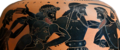 Detail of Odysseus and Aias fighting for Achilles Armor from Oinochoe Louvre F340 glare reduced 1200x500.png