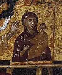 Detalle de San Lucas pintando a la Virgen y al Niño (antes de 1567). Temple y oro sobre tabla. Periodo cretense del Greco.