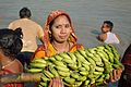 Devotee with Banana Bunch - Chhath Puja Ceremony - Baja Kadamtala Ghat - Kolkata 2013-11-09 4263.JPG