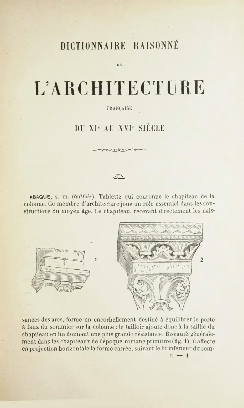 Page dictionnaire raisonn de l architecture fran aise du for Architecture dictionnaire